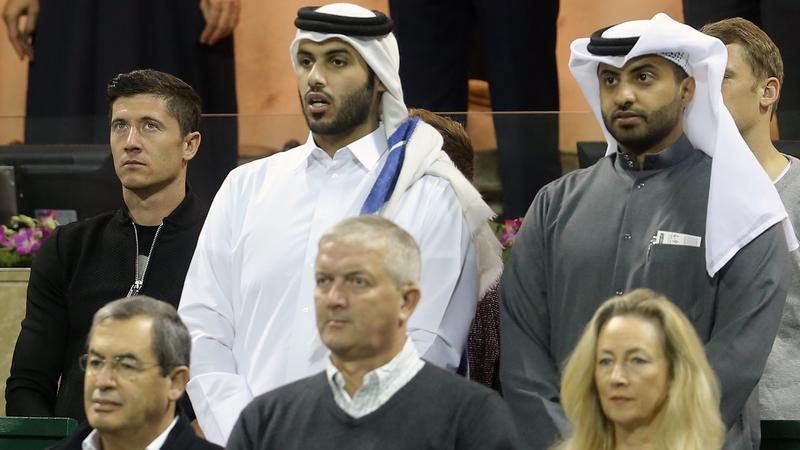 Robert Lewandowski na meczu Novaka Djokovicia z Rafaelem Nadalem