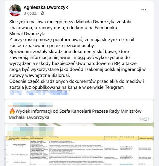 Screen z konta na Facebooku Agnieszki Dworczyk