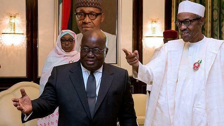 President Muhammadu Buhari meets with Ghana's President, Nana Akufo-Addo.