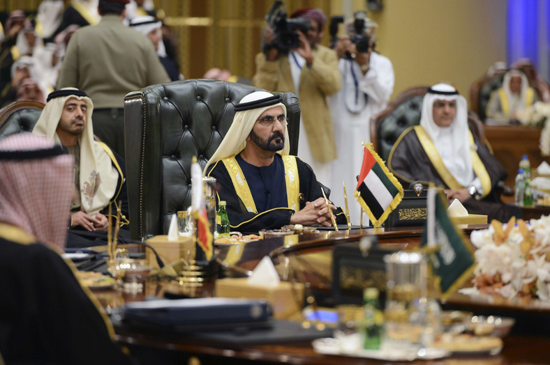 United Arab Emirates Vice President Prime Minister and Ruler of Dubai Sheikh Mohammed bin Rashid Al Maktoum (C) attends the 34th GCC meeting hosted by Kuwait in Bayan Palace December 10, 2013.