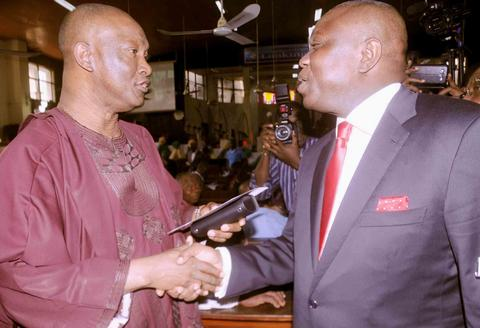 Jimi Agbaje and Akinwunmi Ambode meet at a function circa 2015 (Guardian)