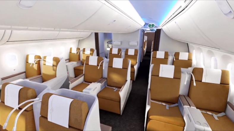 The Kenya Airways airline business class section.
