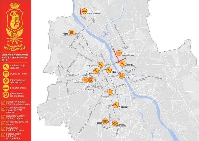 Mapa inwestycji Tramwajów Warszawskich