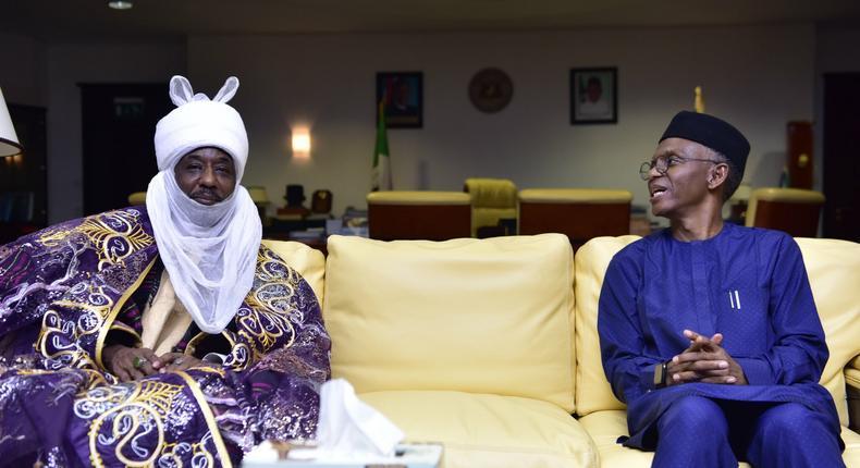 Former Emir of Kano Muhammadu Sanusi II visits Governor Nasir El-Rufai of Kaduna State. (TheNation)