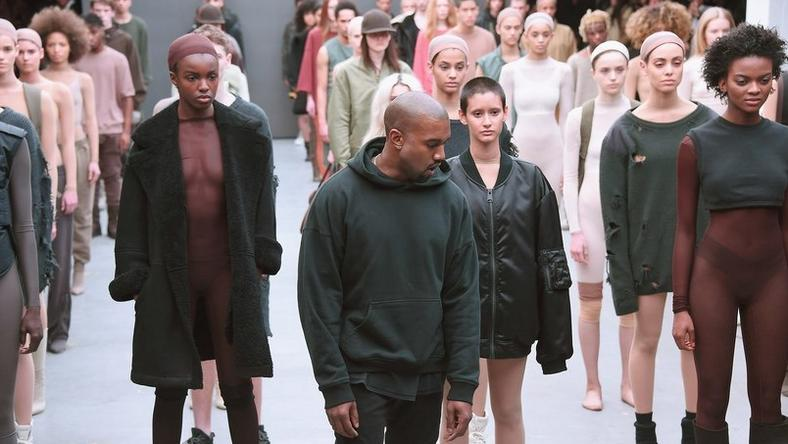 Kanye West and models at New York Fashion Week