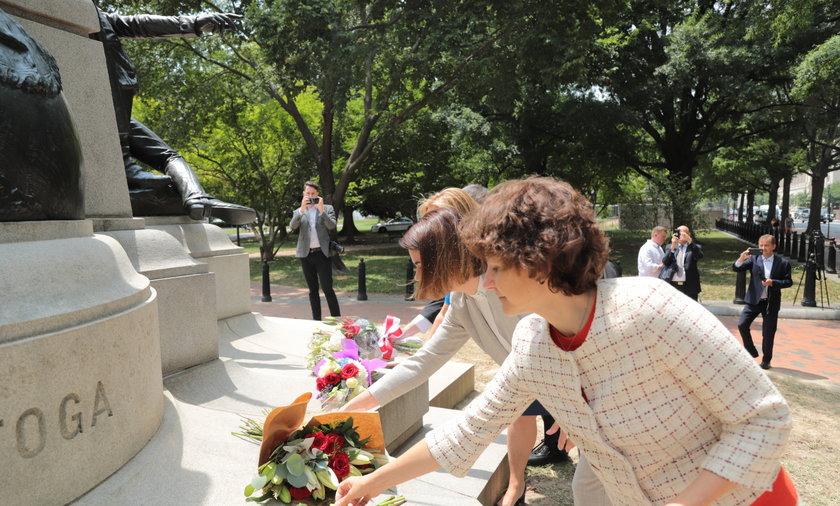 Swiatłana Cichanouska złożyła kwiaty pod pomnikiem Tadeusza Kościuszki