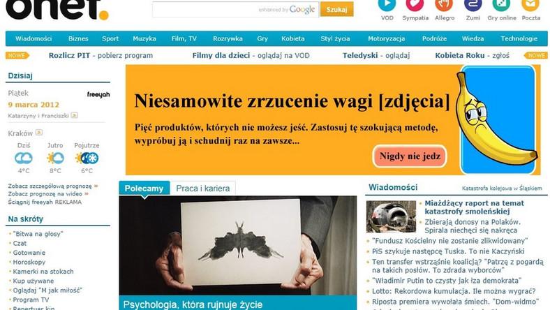 Strona portalu Onet