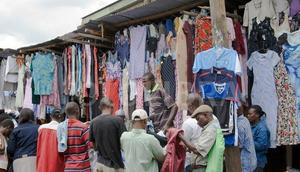Second-hand clothes at mitumba market in Nairobi.