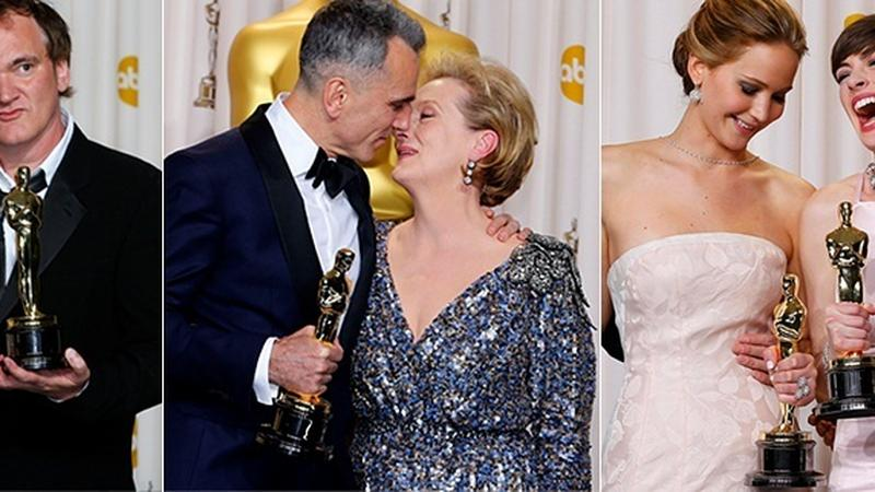 Laureaci Oscarów: Quentin Tarantino, Daniel Day-Lewis, Jennifer Lawrence i Anne Hathaway (fot. Getty Images)