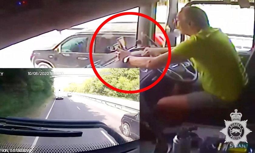 Trzy osoby ciężko ranne. Szokujące nagranie z kabiny kierowcy.