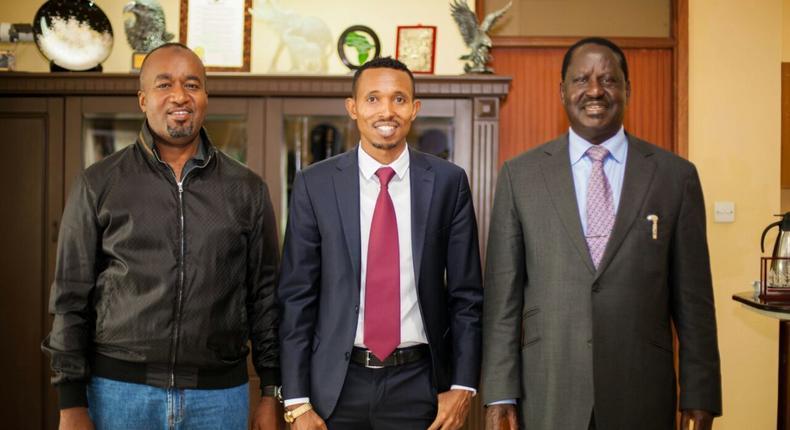 Mombasa Governor Hassan Joho, Mohammed Ali and ODM leader Raila Odinga
