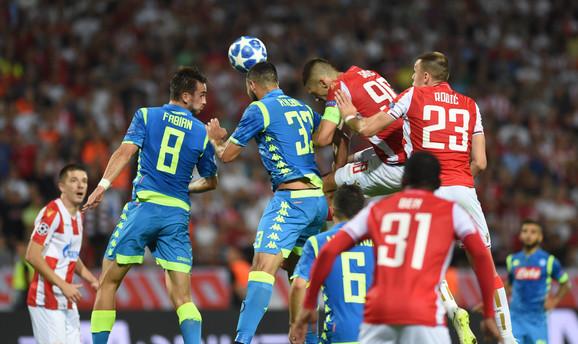 Detalj sa meča u prvom kolu Lige šampiona između Crvene zvezde i Napolija