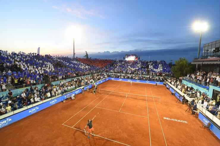 Detalj sa finala Adria tour turnira u Beogradu između Filipa Krajinovića i Dominika Tima
