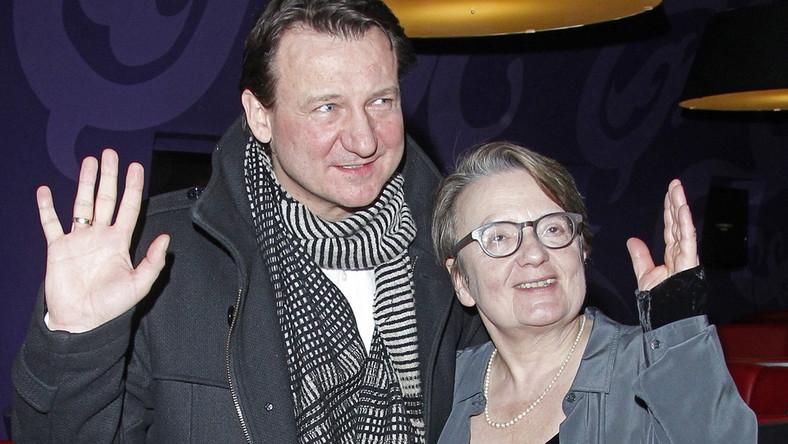 """Agnieszka Holland i Robert Więckiewicz na premierze """"W ciemności"""" w Warszawie"""