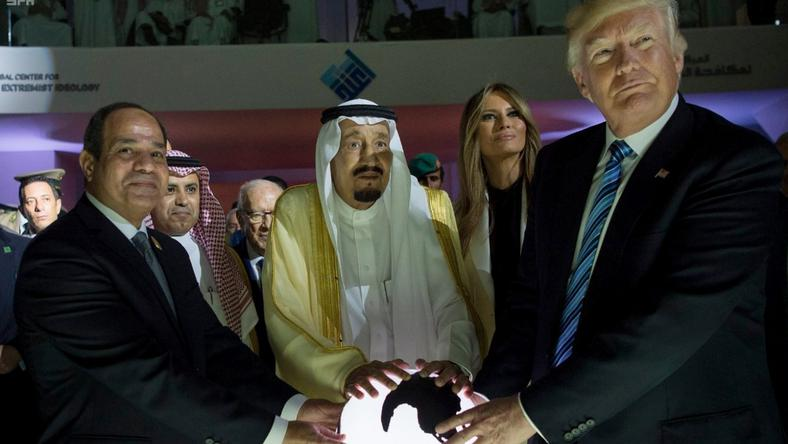 Egyptian President Abdel Fattah al-Sissi, Saudi King Salman, U.S. First Lady Melania Trump and President Donald Trump, visit a new Global Center for Combating Extremist Ideology, in Riyadh, Saudi Arabia.