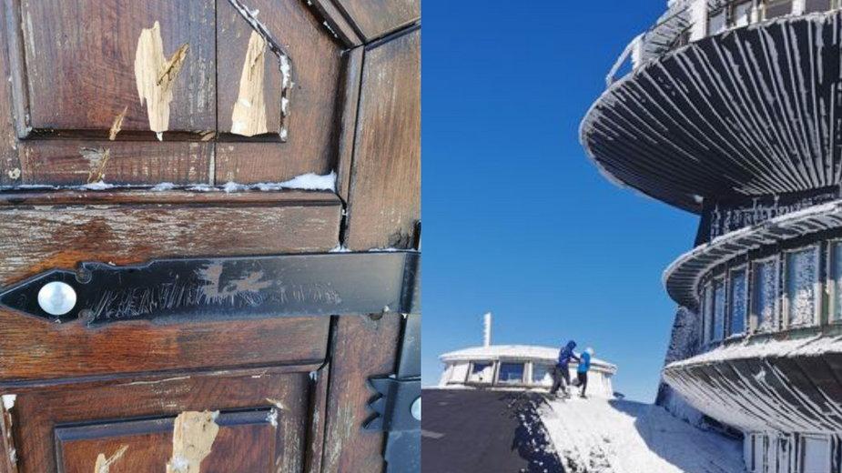 Turyści dewastują Śnieżkę. Zniszczyli drzwi kaplicy i wchodzą na spodki