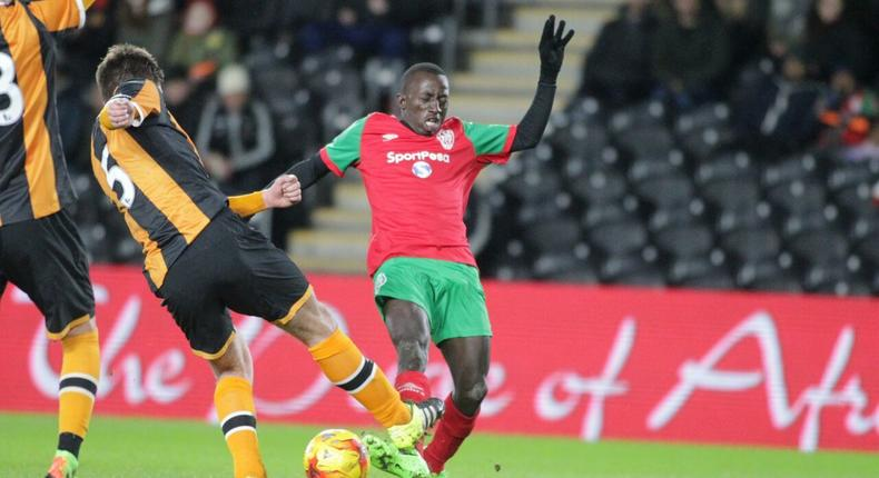 The action at the KCOM Stadium, United Kingdom where KPL All Stars lost 2-1 against Hull City Select XI.
