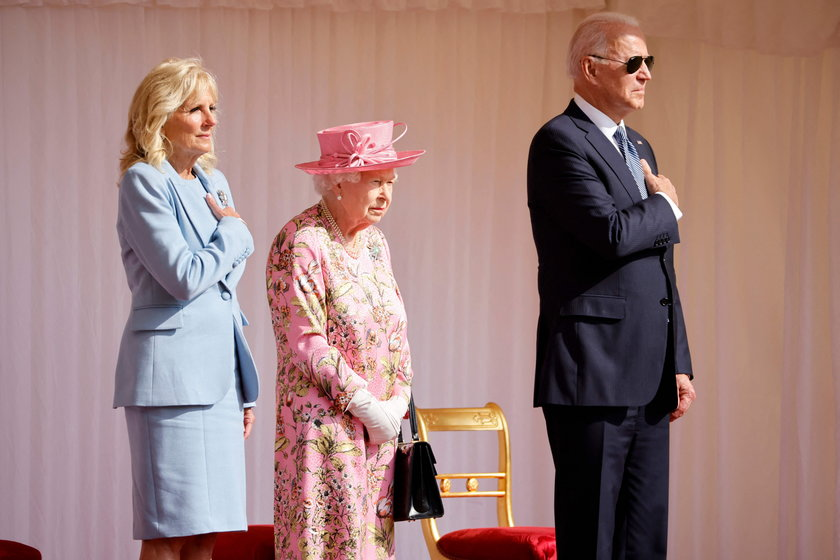 Elżbieta II z parą prezydencką