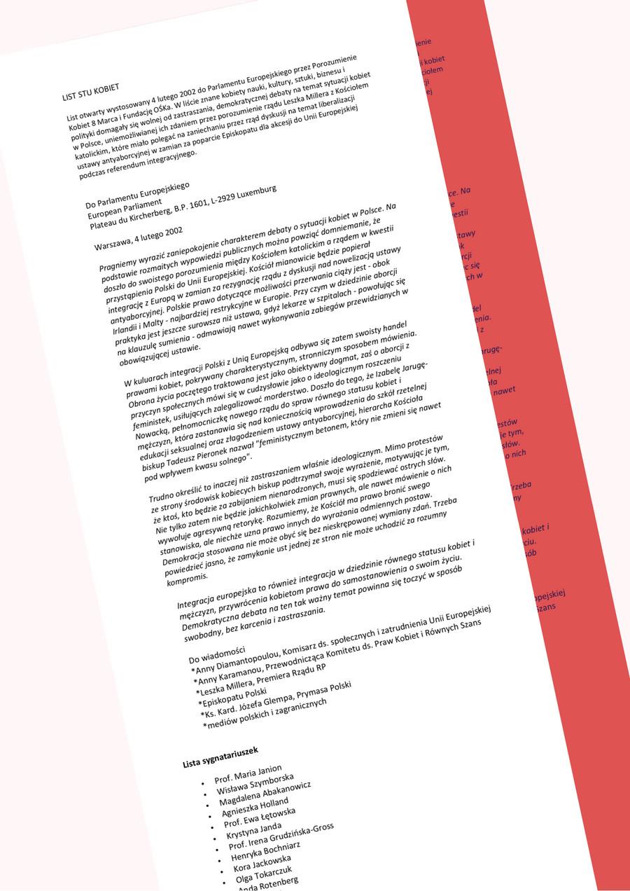 List stu kobiet - fragment/ opracowanie własne
