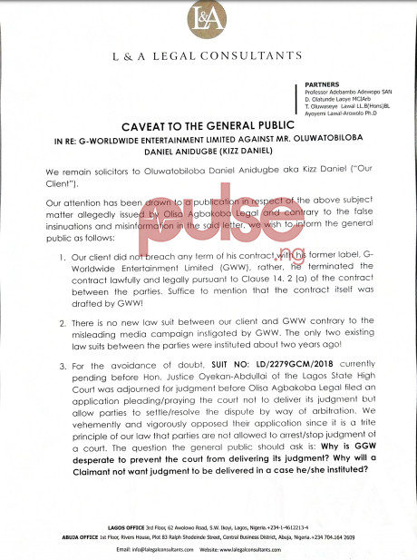 Pages 1 of the reply signed by Olwaseye I. Lawal (Esq.) on behalf of Kizz Daniel. (Pulse Nigeria)