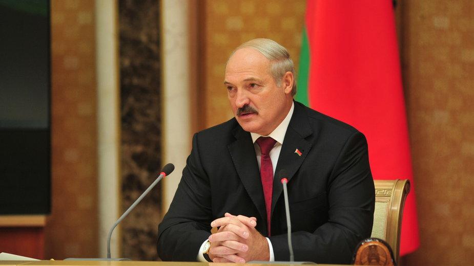 Prezydent Białorusi Aleksander Łukaszenko podczas konferencji prasowej