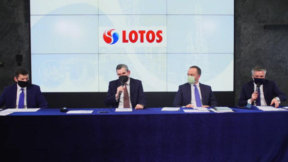Konferencja poświęcona wynikom Grupy Lotos z 2020 roku. Fot. Bartłomiej Sawicki/BiznesAlert.pl