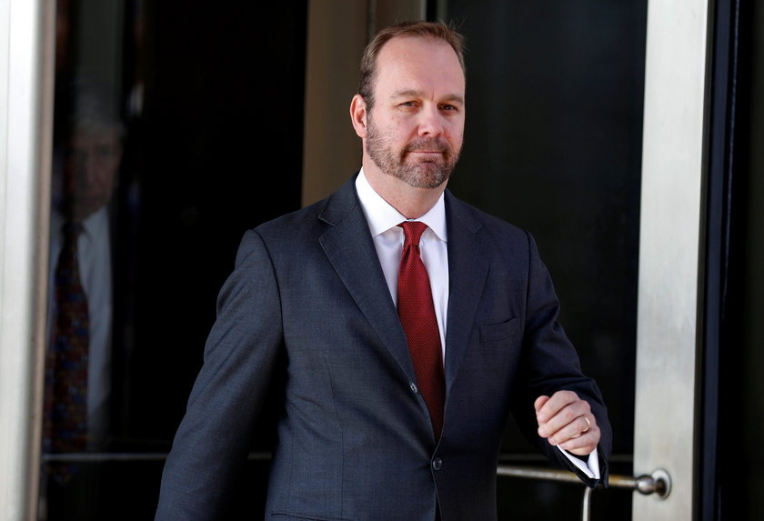 FILE PHOTO: Former Trump campaign aide Rick Gates depats after bond hearing at U.S. District Court i