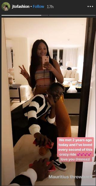 Image result for Mr Eazi And Temi Otedola Celebrate 2nd Anniversary With Loved Up Photos