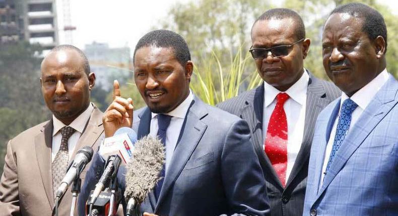 File image of CS Mwangi Kiunjuri addressing the press Looking on is MP Junet Mohamed, Raila Odinga and Paul Otuoma