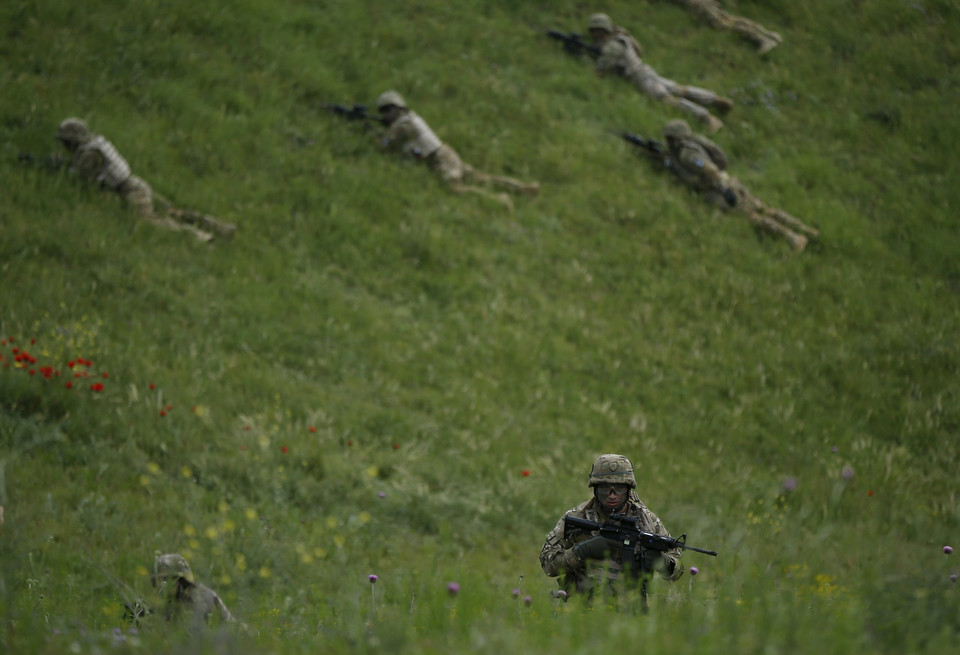 Georgian servicemen take part in the joint U.S.-Georgian exercise Noble Partner 2015 at the Vaziani training area outside Tbilisi