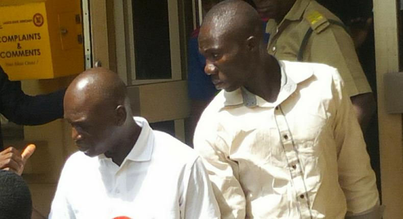 Lateef Balogun ex-domestic staff (left) and Adewale Oyekan, Lagos Prince, leaving Ikeja High Court after both were sentenced to death for murder. [NAN]