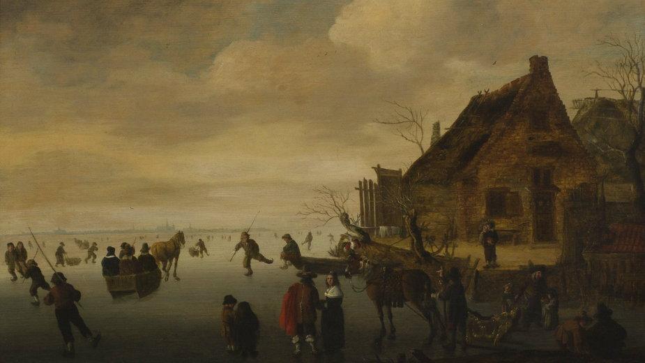 """Cornelis Beelt, """"Pejzaż zimowy z postaciami jeżdżącymi na łyżwach"""""""