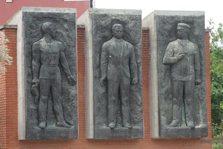 16675265 - bela kun jeno landler tibo szamuely memorial - the endless parade of the personalities of the workers movement - communist monument - memento park - budapest