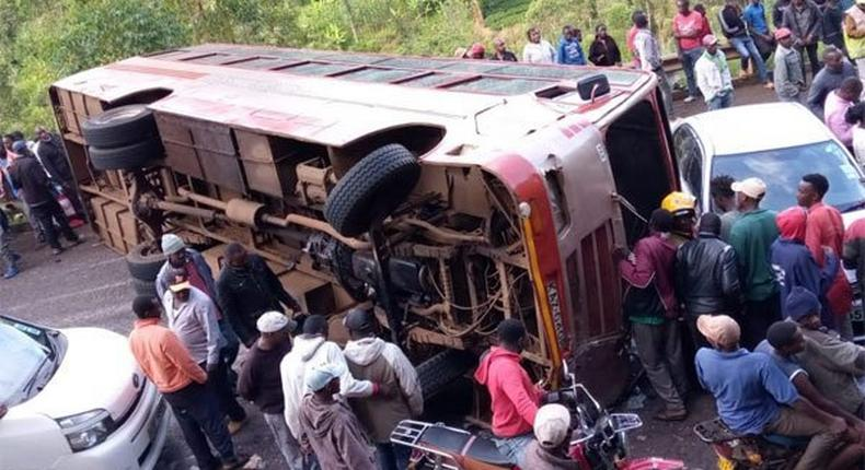 The scene where a Kensilver bus rammed into two salon cars, leaving at least 10 people injured along the Meru -Nairobi highway on January 3, 2020
