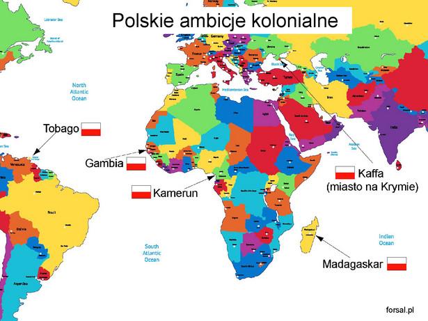 """Czy Polska straciła na braku kolonii? Z jednej strony trudno wskazać państwo z historią kolonialną, które byłoby dziś na niższym stopniu rozwoju od Polski. Z drugiej strony szwedzkie podboje kolonialne są porównywalne z polskimi, nie mówiąc już o Austrii, Szwajcarii, czy Finlandii. W okresie gdy kraje Europy Zachodniej budowały imperia kolonialne, Polska najpierw rozwijała interesy na wschodzie i """"kolonizowała"""" Dzikie Pola, a później znikła z mapy świata. Posiadanie kolonii mogło natomiast przynieść Polsce istotne korzyści podczas II wojny światowej. Agresorom trudniej byłoby podbić całe polskie terytorium, rząd i armia miałyby się gdzie ewakuować, a rekruci z kolonii mogliby zasilić szeregi wojska polskiego. Szkoda, że nigdy nie dowiemy się, co by było, gdyby..."""