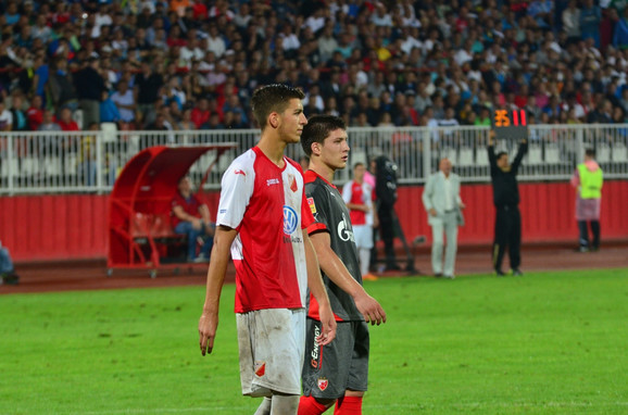 Luka Jović i Srđan Babić na duelu Vojvodine i Crvene zvezde 2013. godine