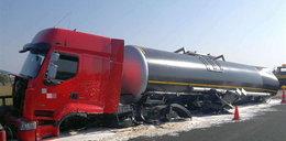 Ale wypadek! Ciężarówka bez kół!