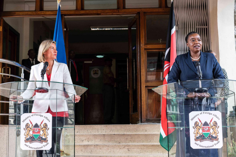 EU High Representative Foreign Affairs and Security Policy, Federica Mogherini holding a joint news conference with Kenya's Foreign Affairs CS Monica Juma. (@eu_eeas)