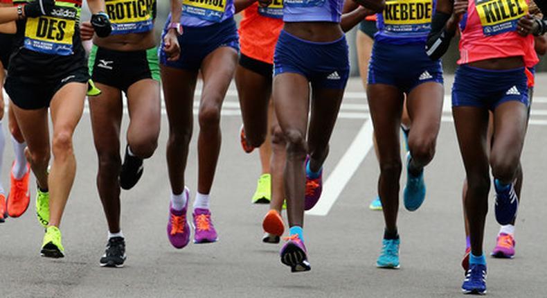 Kenyan runners at Boston Marathon
