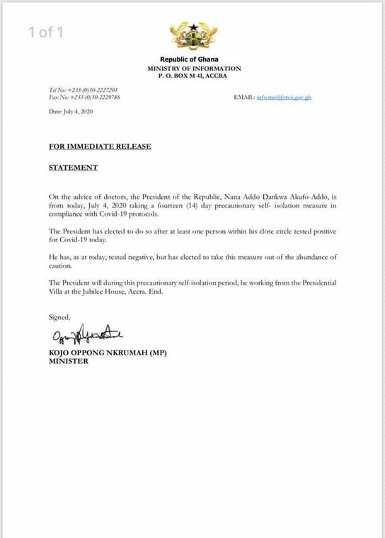 President Akufo-Addo under 14-day self-isolation after exposure to person with COVID-19