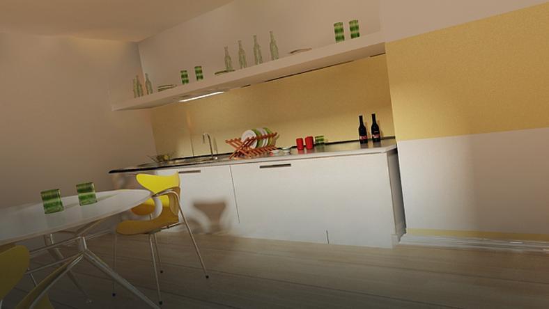 Mała, kwadratowa kuchnia - poziome pasy oraz jasne meble.