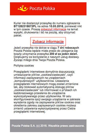 8327471e0251f2 Uwaga na fałszywe maile: Cyberprzestępcy podszywają się pod Pocztę ...
