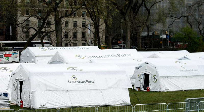 The group building tents for coronavirus treatment in Central Park says its medical staff must adhere to Christian beliefs, sparking condemnation online
