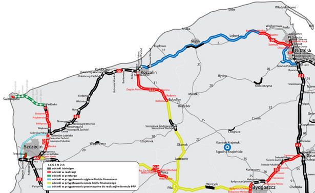 Stan budowy dróg na Pomorzu. Źródło: GDDKiA