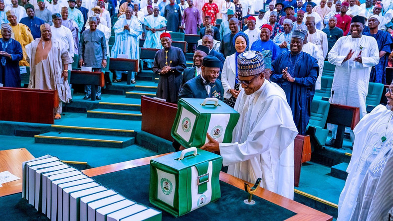 President Muhammadu Buhari at the presentation of 2020 Budget on the floor of the Senate. [Twitter/@BashirAhmaad]