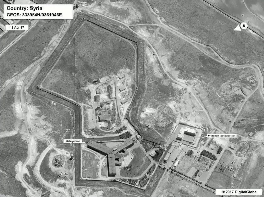 Satellite image of section of Syria's Sednaya prison complex near Damascus