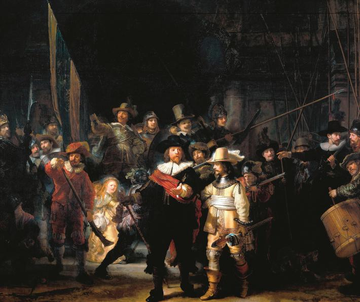 Rembrandt Harmenszoon van Rijn's painting titled 'The Night Watch'. Rembrandt (1606-1669) Dutch pain