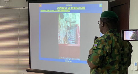 Commander of 81 Military Intelligence Brigade, Victoria Island, Lagos, Brig. Gen. Ahmed Taiwo tells members of Lagos Judicial Panel about the role the army played in the Lekki shooting incident. (TheNation)