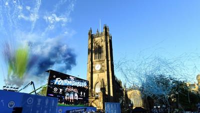 Treble winners Man City enjoy parade