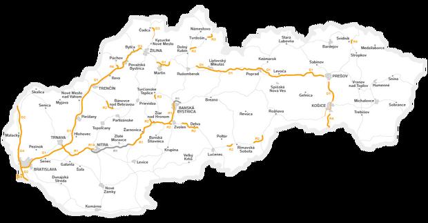 Mapa płatnych odcinków dróg